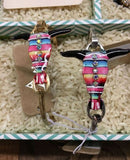 Steer Head Serape Pattern with Pearl Charm wire Bracelet