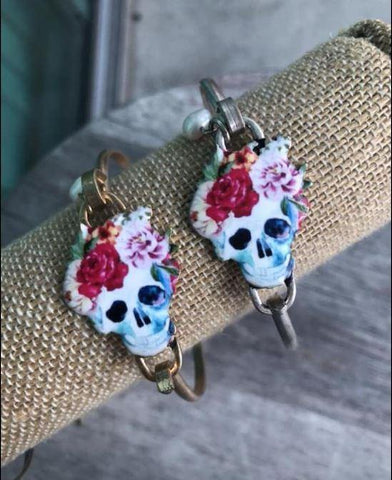 Sugar Skull bracelet with pearl
