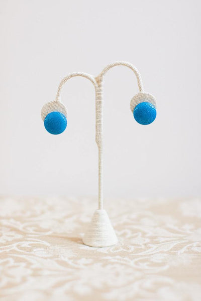 Blue Metallic Button Earrings - Clip-On - Pretty Please on Broad