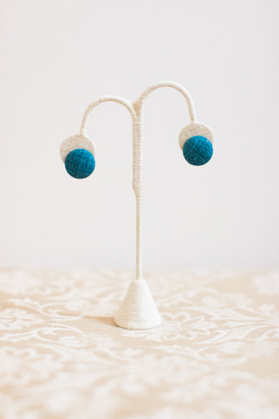 Teal Button Earrings - Pretty Please on Broad