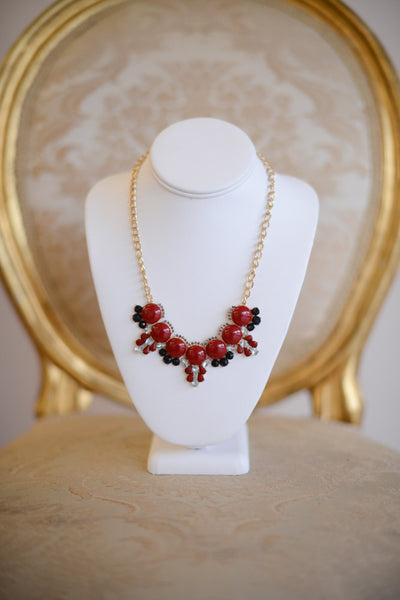 Rhinestone Studded Bubble Necklace Red - Pretty Please on Broad