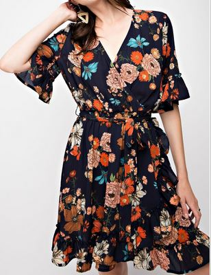 Navy Floral Print Wrap Dress