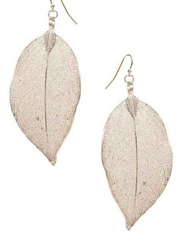 Delicate Filigree Leaf Earrings in Rose Gold