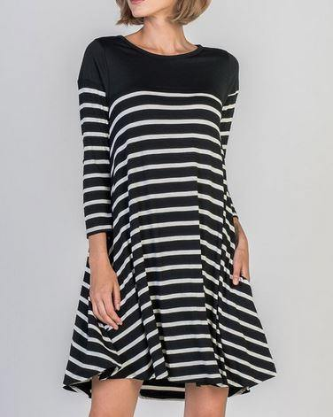 Black and Ivory Long Sleeve Tunic Dress