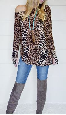 Long Sleeve Off the Shoulder Cheetah Top with Thumbhole Sleeve Detail
