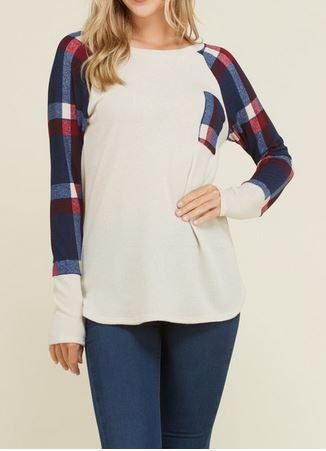 Solid Long Sleeve Top w/ Plaid Sleeves and Pocket Detail