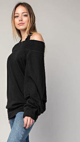 Black Long Sleeve Marbled Boat Neck