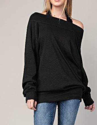 Black Long Sleeve Marbled Boat Neck Top