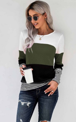 Margie Green Colorblock Striped Top