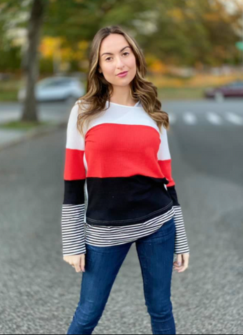 Margie Red Colorblock Striped Top