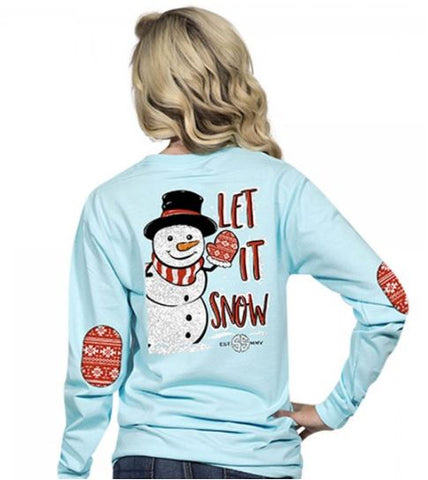 Simply Southern Preppy Collection Let it Snow Long Sleeve T-Shirt in Marine