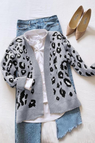 Meredith Spotted Leopard Open Cardigan