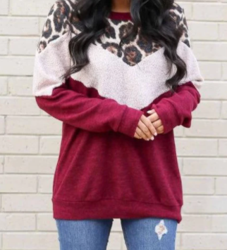 Mia Leopard Sherpa Brushed Colorblock Sweatshirt Hot Trending Ladies Women Girls College Work From Home Loungewear side_Pretty Please on Broad online boutique Altavista Lynchburg Forest VA NOLA