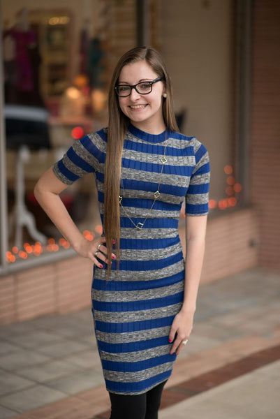Striped Mock Neck Knit Dress - Pretty Please on Broad
