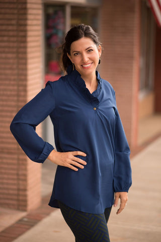 Whitney Ruffle Neck Tunic - Navy - Pretty Please on Broad