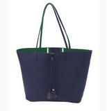 Navy & Green Reversible Tote Handbag
