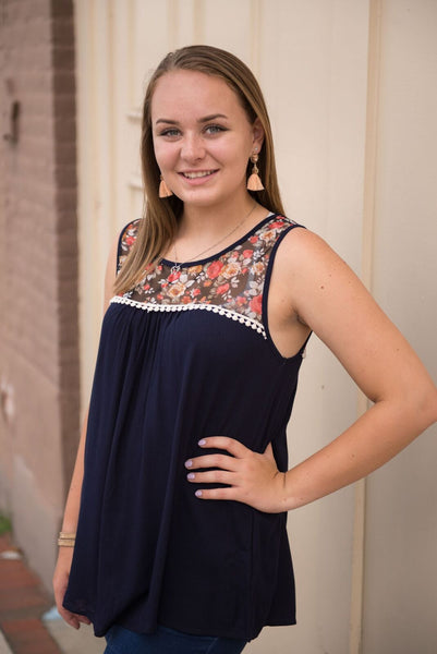 Sweet Floral Tank with Lace Trim (Navy) - Pretty Please on Broad