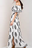 Ladies Womens On Off Shoulder black and white scroll printed maxi dress with side slits_Pretty Please on Broad Boutique