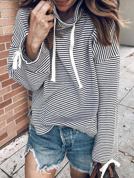 Callie Cowl Neck Striped Top