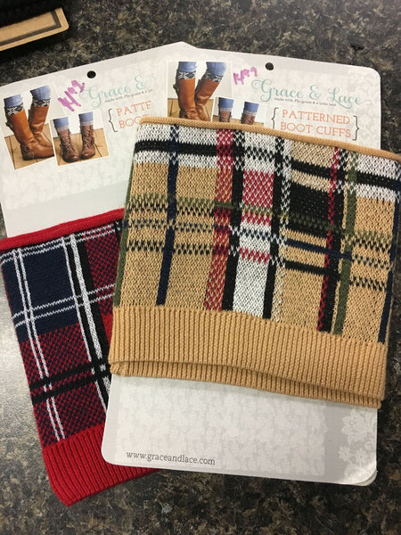 Plaid Knit Boot Cuff Toppers
