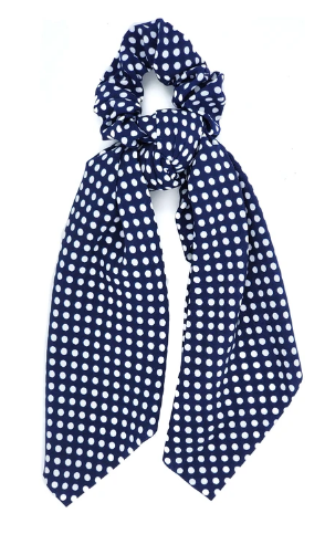Navy Polka Dot Scrunchie Ponytail Scarf
