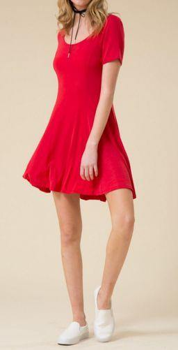 Red Short Sleeve Contoured Flare Swing Mini Dress
