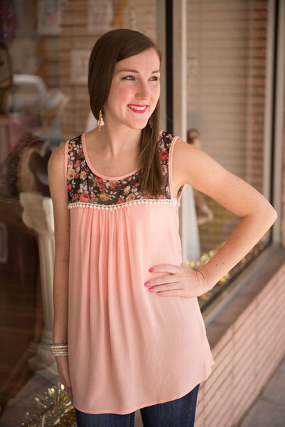 Sweet Floral Tank with Lace Trim (Rose) - Pretty Please on Broad