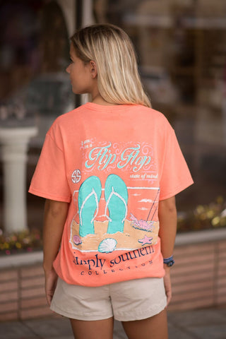 Flip Flop State of Mind Orange Tee Tshirt shirt by Simply Southern Preppy Collection- Pretty Please on Broad