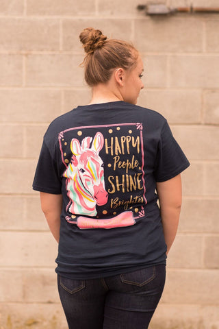 Womens Ladies Navy Zebra Happy People Shine Better Tee Tshirt Shirt Top by Simply Southern Preppy Collection - Pretty Please on Broad Boutique