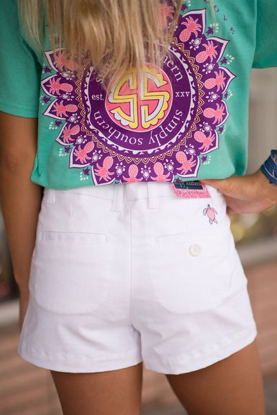 Simply Southern Summer Lovin' Shorts (White) - Pretty Please on Broad