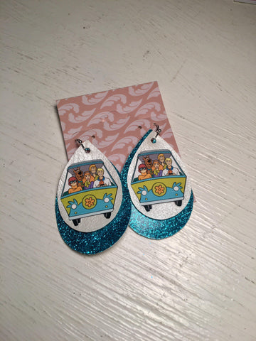 Scooby Doo Blue Layered Faux Leather Earrings