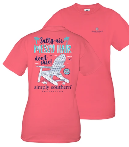 Simply Southern Preppy Collection Salty Air Messy Hair Don't Care Ladies Tee