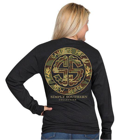 Simply Southern Camo is the new Black Long Sleeve T-shirt for Women in Black