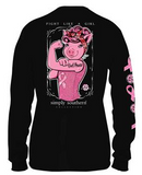 Simply Southern Preppy Collection Fight Like A Girl Breast Cancer Long Sleeve T-shirt for Women in Black Girl Power