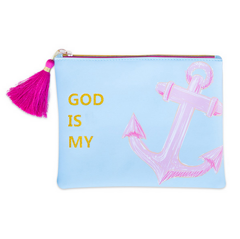 Simply Southern Preppy Collection God is my Anchor Makeup Brush Bag by Simply Southern