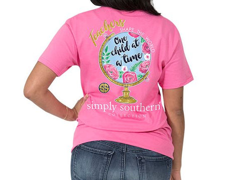Pink Teachers Shape the World One Child at a Time Globe Global Tee Tshirt Shirt by Simply Southern Preppy Collection - Pretty Please on Broad Boutique