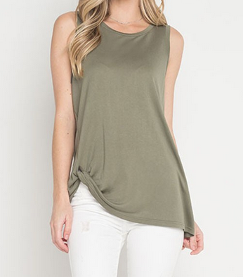 Sleeveless Knotted Top in Olive