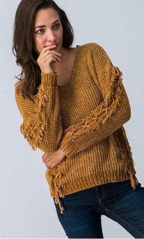 Criss Cross Knit Sweater with Fringe Sleeve