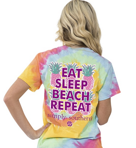 Tie-Dye Tie Dye Tye Eat Sleep Beach Repeat Womens Ladies Tee Tshirt Shirt by Simply Southern Preppy Collection - Pretty Please on Broad Boutique