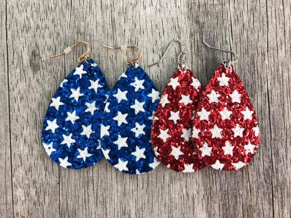 Stars and Stripes Glitter Earrings