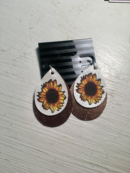 Sunflower Bronze Glitter Faux Leather Earrings