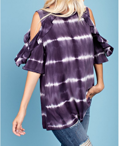Tie Dye Ruffled Cold Shoulder Top Tee Made in USA_Pretty Please on Broad Boutique