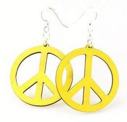 Peace Sign Wooden Earrings