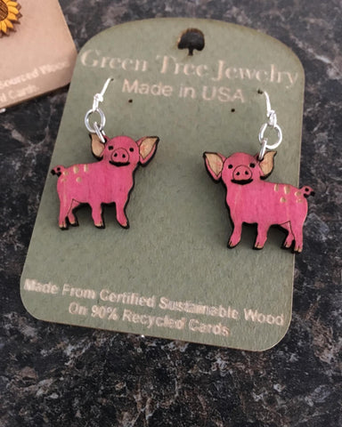 This Lil Piggy Wooden Earrings