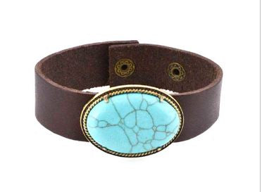 Oval Turquoise Leather Cuff Bracelet