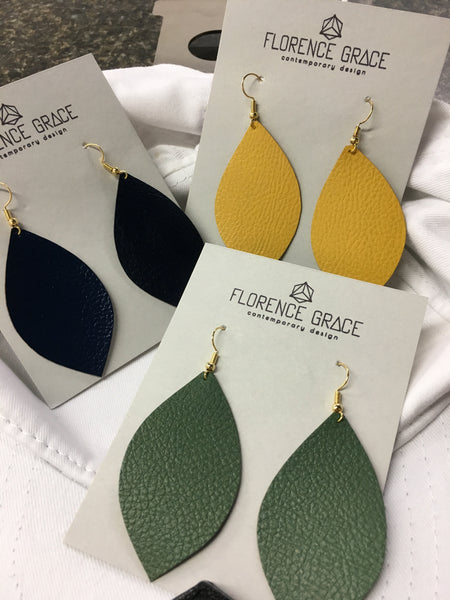 Vegan Leather Leaf Earrings in Fall Colors