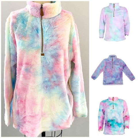 Tie Dye Watercolor Furry Zippered Pullover