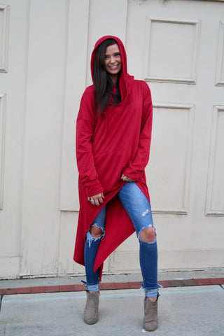 Cranberry Asymmetrical Hoodie Dress
