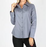 Steel Blue Button Up Shirt