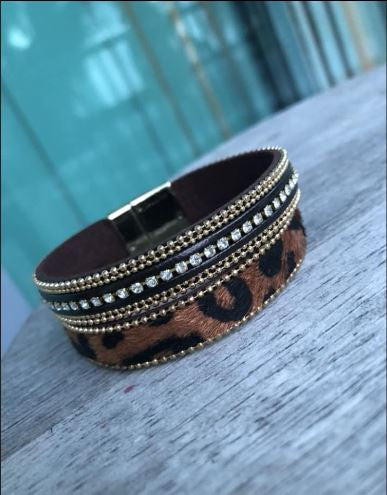 Cheetahs and Crystals Metallic Clasp Bracelet